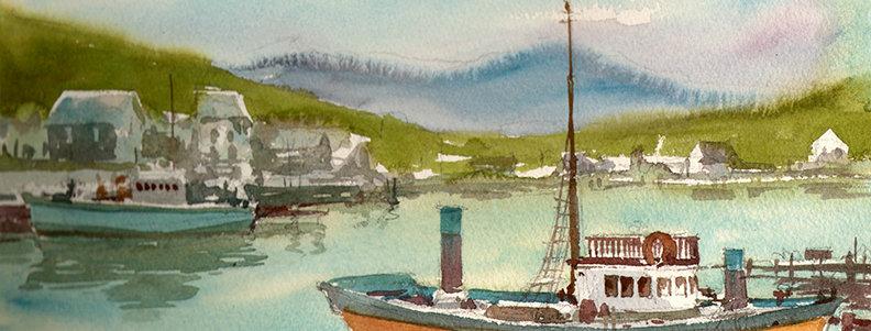 """Original Watercolor Demo """"Vintage Boat"""""""