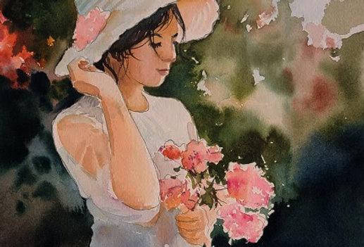 """Original Watercolor Demo """"Flower Girl"""""""