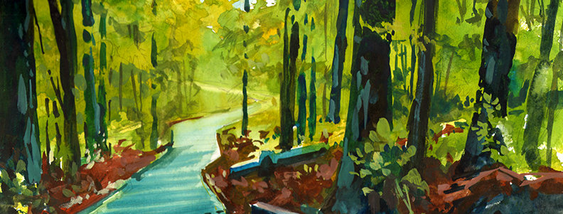 "Original Watercolor Demo ""Stairway Trail Minnesota"""