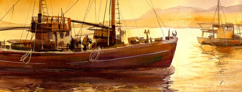 """Original Watercolor Demo """"Fishing Boat"""""""