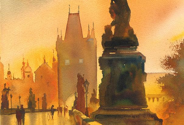 """Original Watercolor Demo """"Charles Bridge, Prague"""""""
