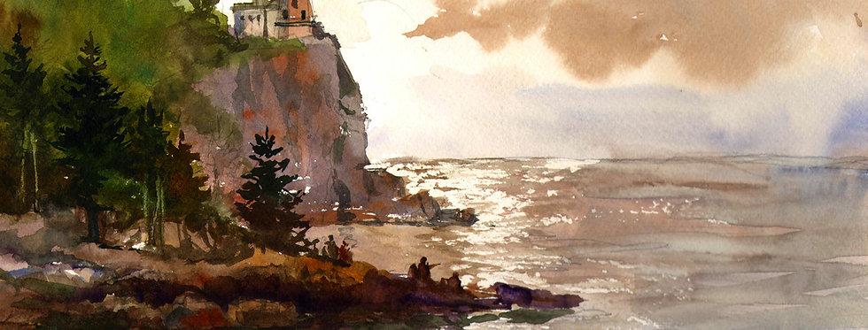 "Original Watercolor Demo ""Split Rock Lighthouse"""