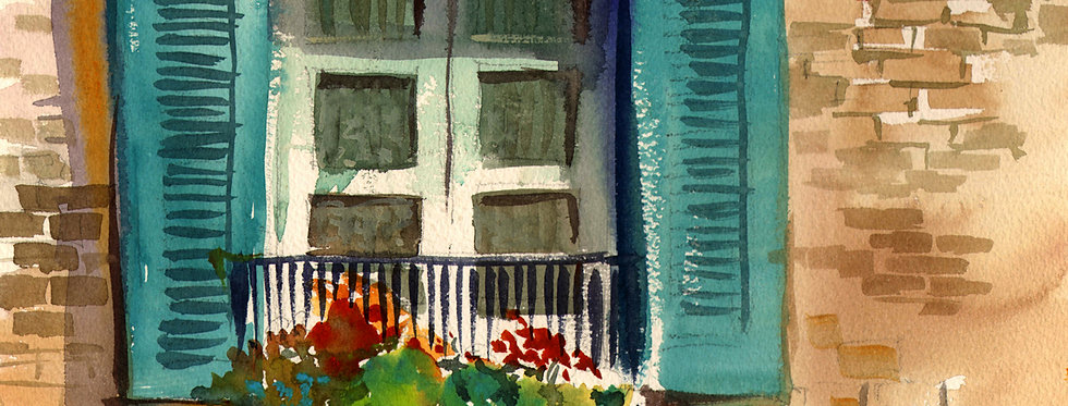 "Original Watercolor Demo ""Venezia la finestra"""