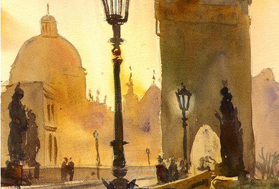 """Original Watercolor Demo """"Charles Bridge"""""""
