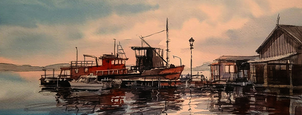 "Original Watercolor Demo ""Clayton Dock NY"""
