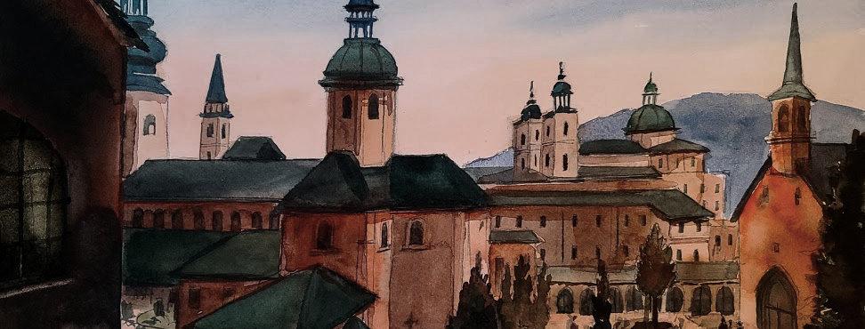 """Original Watercolor Demo """"Salzburg Austria"""""""