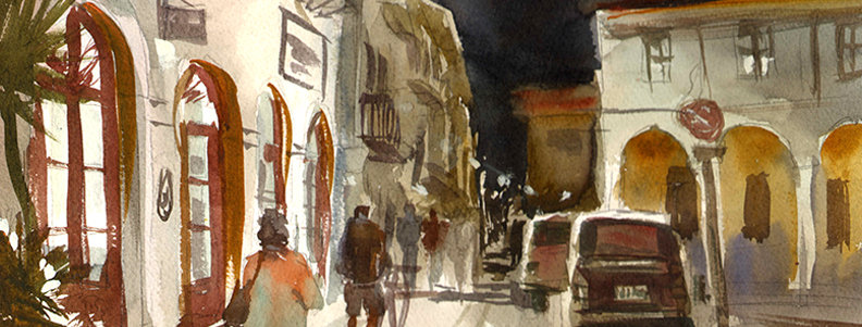"Original Watercolor Demo ""Crete at Night"""