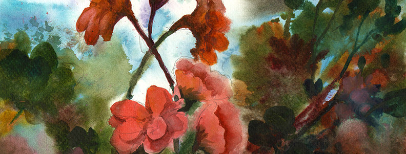 "Original Watercolor Demo ""April Flowers II"""