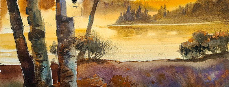 "Original Watercolor Demo ""Nesting on Nelson Lake"""