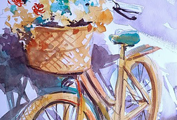 "Original Watercolor Demo ""Flowering Bicycle"""