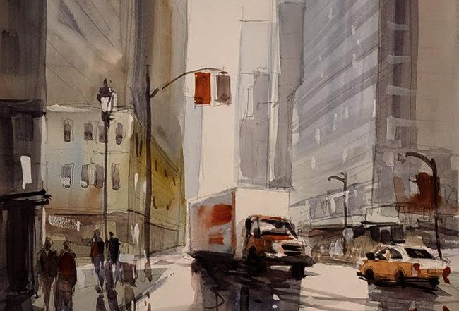 "Original Watercolor Demo ""Chi Town"""