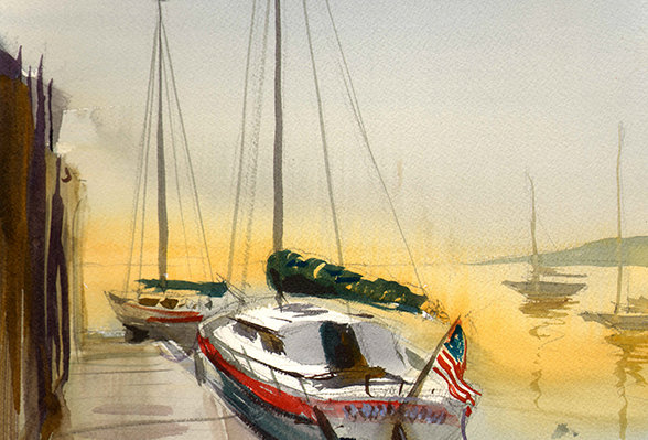 "Original Watercolor Demo ""Rockland Maine Sailboat"""