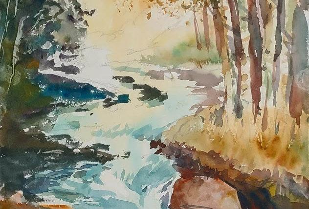 """Original Watercolor Demo """"Fall Falls"""""""