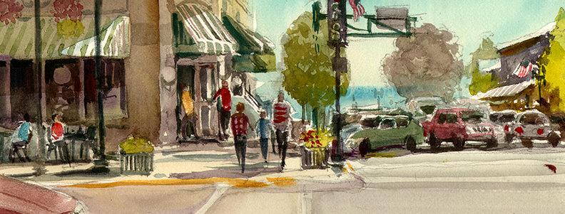 """Original Watercolor Demo """"Lake Geneva"""""""