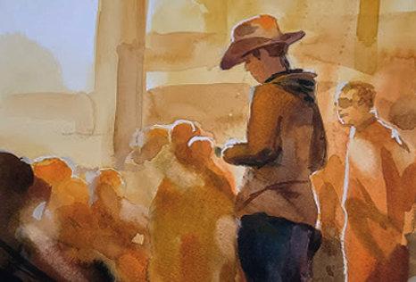 """Original Watercolor Demo """"Cowboy"""""""