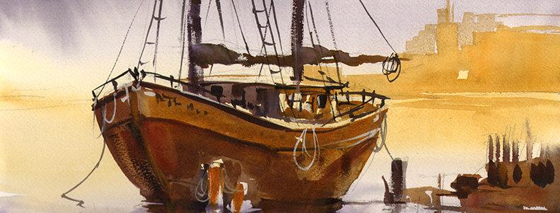 """Original Watercolor Demo """"Kenosha Harbor"""""""