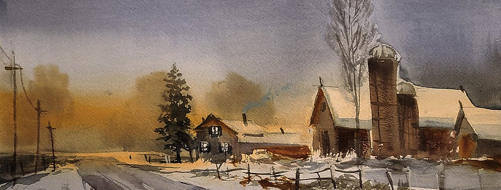 "Original Watercolor Demo ""Home Sweet Farm Home"""