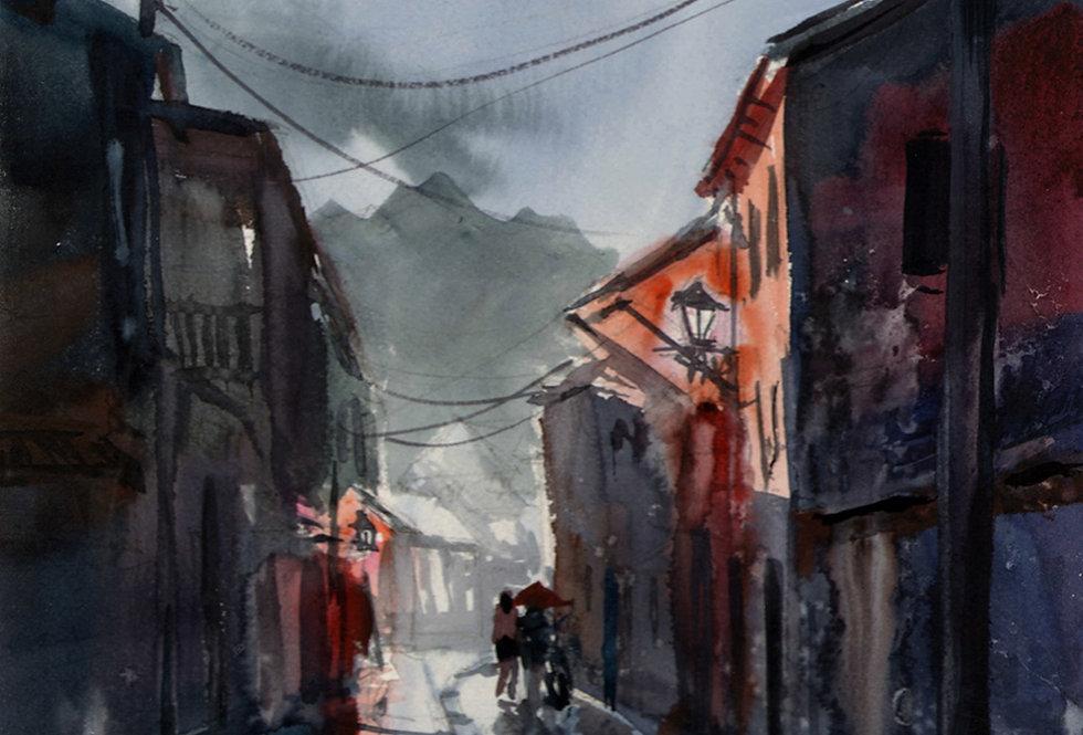 "Original Watercolor Demo ""Euro Wet Street"""
