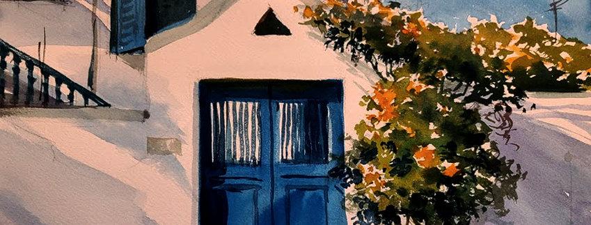 """Original Watercolor Demo """"Blue Door Greek Islands"""""""