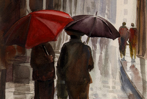 "Original Watercolor Demo ""Rainy Scene #3"""