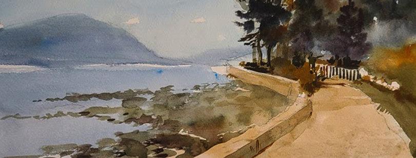"""Original Watercolor Demo """"Lake Path"""""""