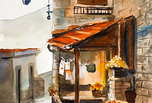"Original Watercolor Demo ""Euro Porch"""