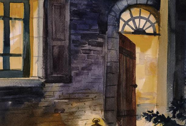 """Original Watercolor Demo """"Steps to Home"""""""