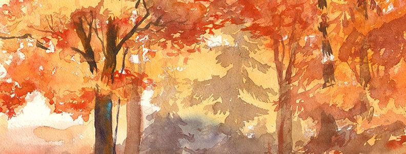 """Original Watercolor Demo """"Autumn Hike"""""""