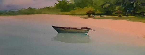 "Original Watercolor Demo ""Island Calm """