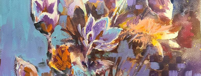 """Original Watercolor/Acrylic Demo """"Delightful Flowers"""""""