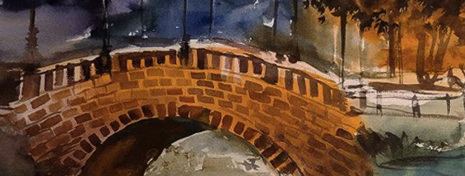 "Original Watercolor Demo ""Bridge over Troubled Water"""