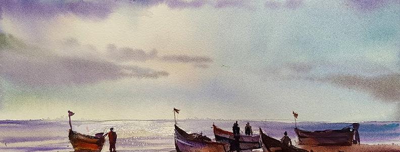 """Original Acrylic Watercolor Demo """"Boat Race"""""""