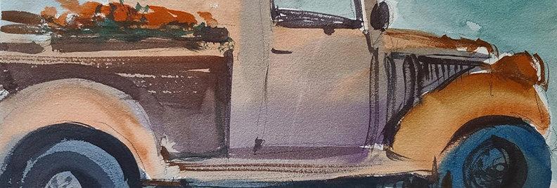 "Original Watercolor Demo ""Flower Truck"""