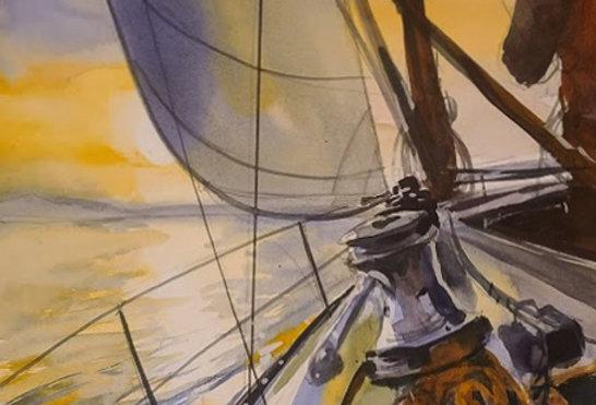 "Original Watercolor Demo ""Sailing the High Seas"""