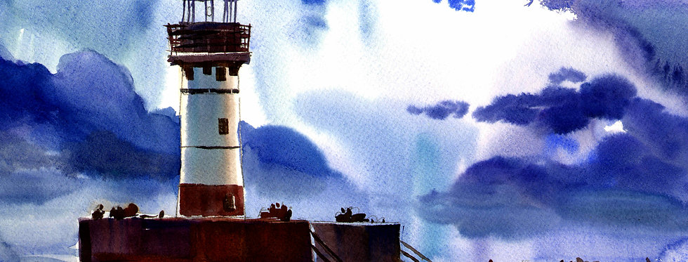 """Original Watercolor Demo """"Lighthouse Duluth"""""""