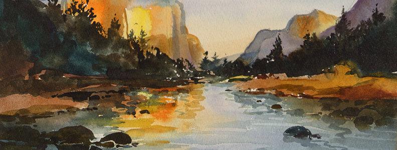 "Original Watercolor Demo ""Western Monument"""