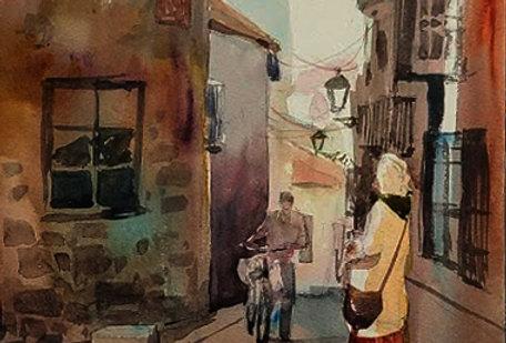 """Original Watercolor Demo """"Meeting in Europe"""""""