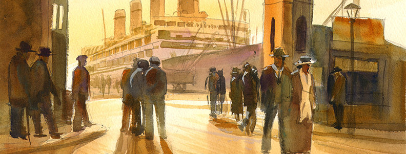 "Original Watercolor Demo ""Vintage Pier"""