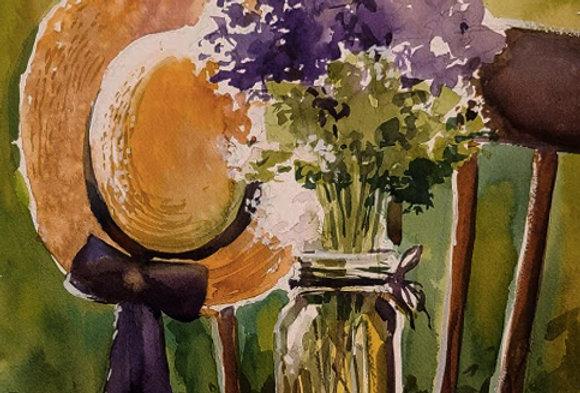 "Original Watercolor Demo ""Lilac Sun Hat"""