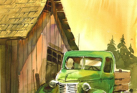 """Original Watercolor Demo """"Vintage Truck"""""""