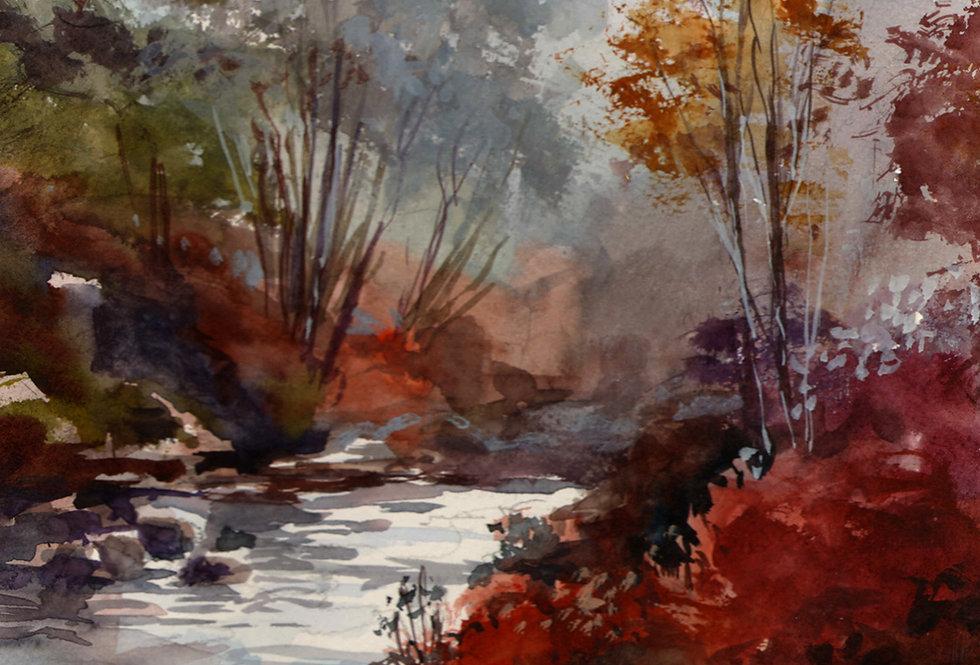 "Original Watercolor Demo ""Northern Creek"""