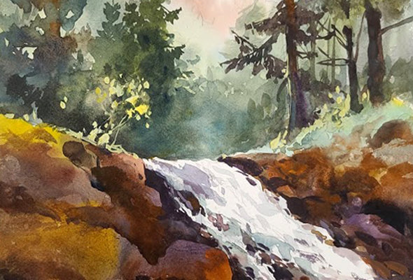 "Original Watercolor/Acrylic Demo ""Northshore Waterfall"""