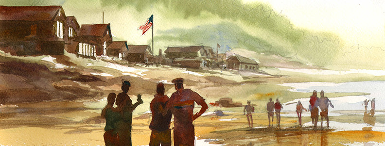 "Original Watercolor Demo ""Memorial Day Beach"""