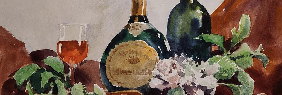 "Original Watercolor Demo ""Wine Still life"""
