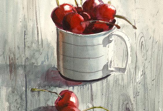 "Original Watercolor Demo ""Cherries Straight Up"""