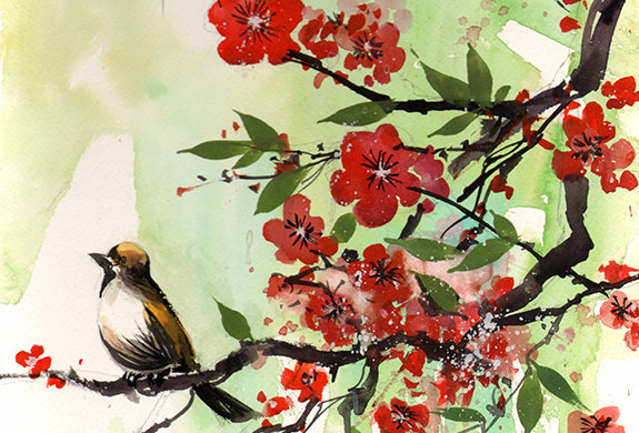 "Original Watercolor Demo ""Bird & Blossoms"""