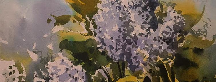 """Original Watercolor Demo """"Lilacs"""""""