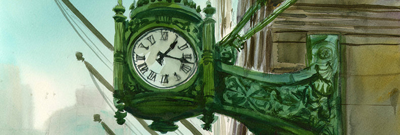 "Original Watercolor Demo ""Marshall Fields Clock"""