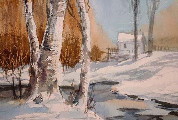 "Original Watercolor Demo ""Winter Stream"""