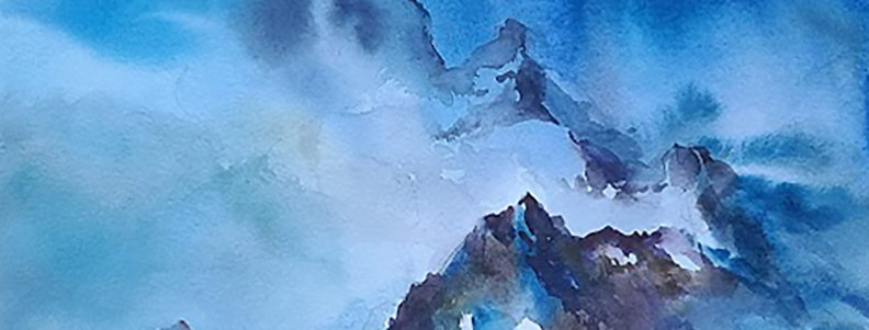 "Original Watercolor Demo ""Mountain Tops"""